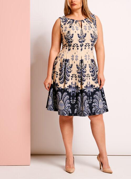 Printed Keyhole Neck Dress, Blue, hi-res