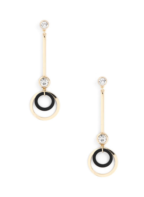 Double Circle Bar Earrings, Black, hi-res