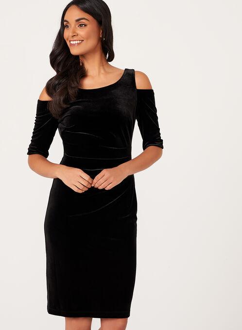 Cold Shoulder Velvet Dress , Black, hi-res