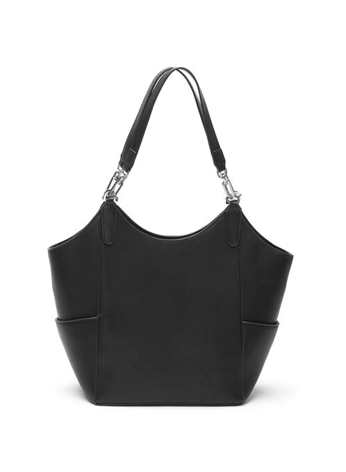 Faux Leather Bucket Handbag, Black, hi-res