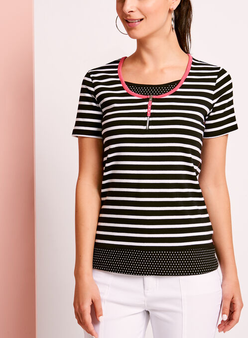 Stripe & Dot Print T-Shirt, Black, hi-res
