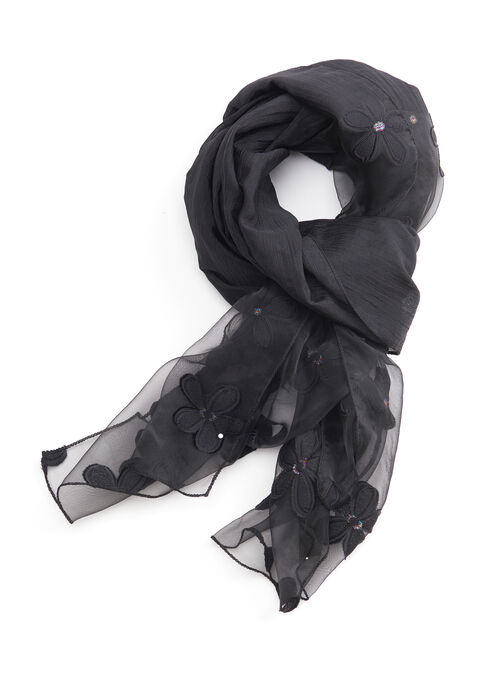 Sheer Floral Evening Wrap, Black, hi-res