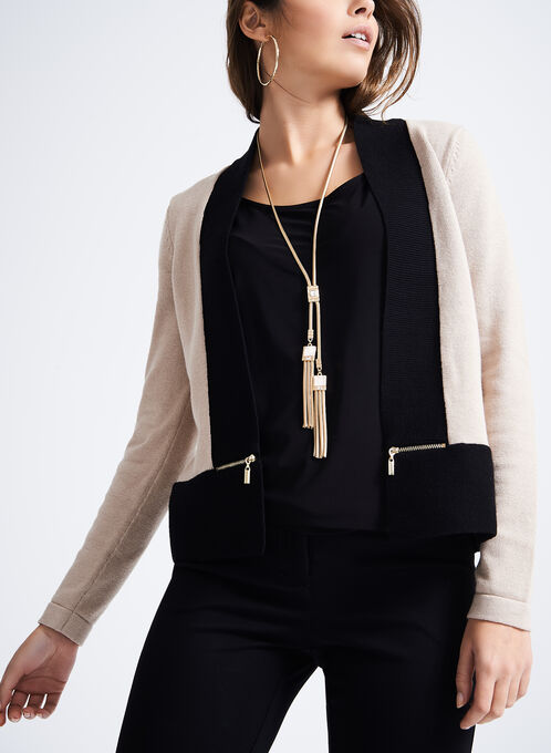 Zipper Detail Cropped Cardigan, Black, hi-res
