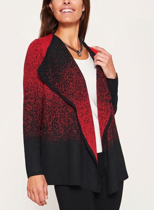 Cascading Front Knit Cardigan, Black, hi-res
