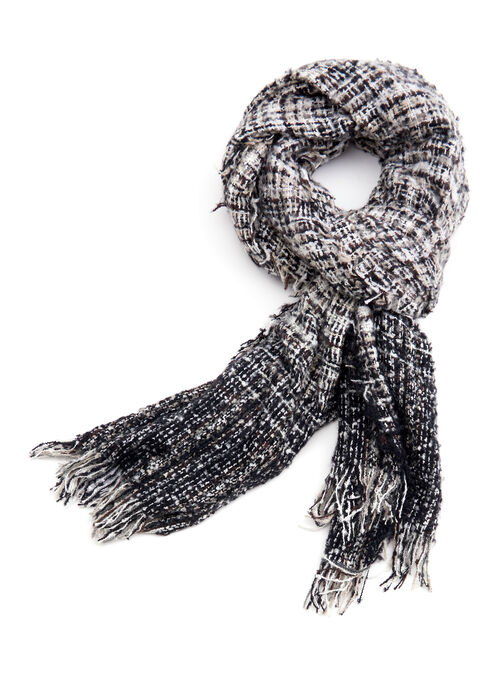 Ombré Plaid Print Scarf, Black, hi-res