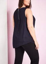 Sleeveless Chiffon Popover Blouse, Blue, hi-res