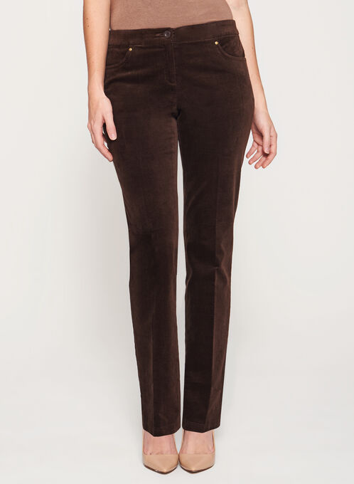 Signature Fit Straight Leg Corduroy Pants, Brown, hi-res