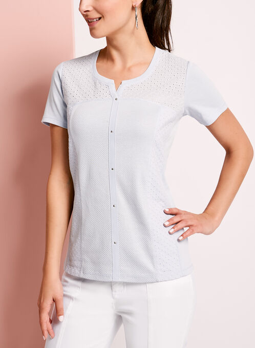 Eyelet Lace Embellished T-Shirt, Blue, hi-res