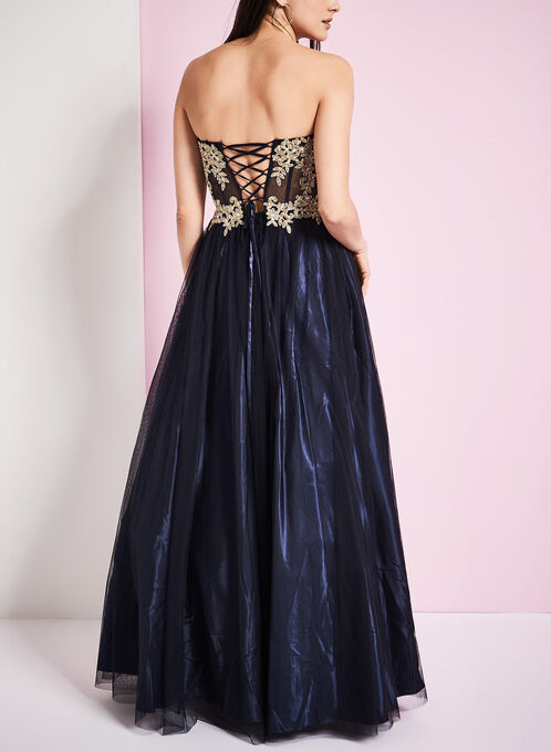 Embroidered Tulle Ball Gown, Blue, hi-res