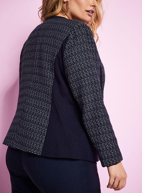 Contrast Knit Stripe Print Ponte Jacket, Blue, hi-res