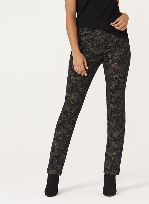 Metallic Floral Print Pull-On Pants, Black, hi-res