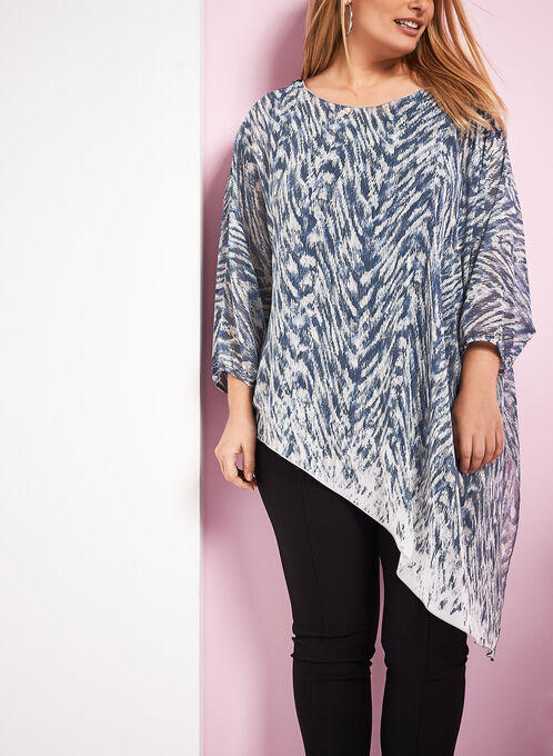 Printed Asymmetrical Poncho Blouse , Blue, hi-res