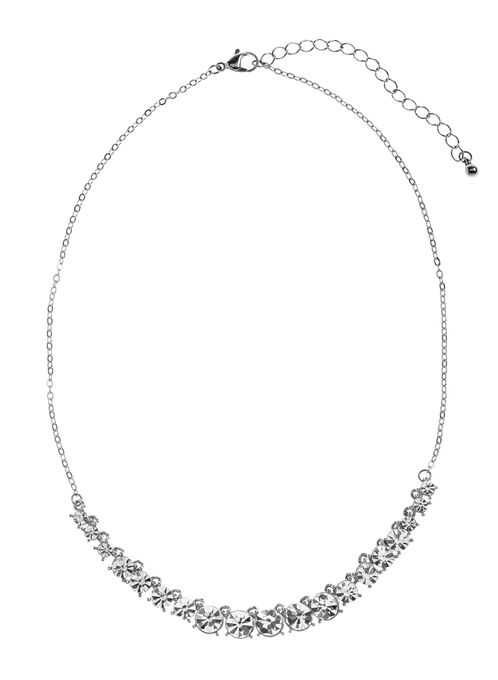 Crystal Front Chain Necklace, Silver, hi-res