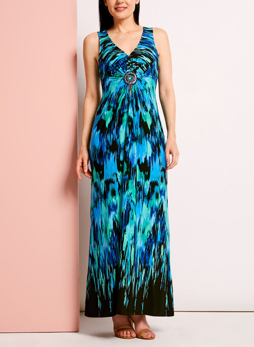 Abstract Print Medallion Trim Maxi Dress, Blue, hi-res