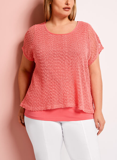 Mesh Knit Double Layer Top	, Orange, hi-res