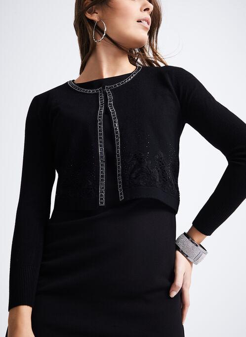 Knit Beaded Crop Cardigan , Black, hi-res