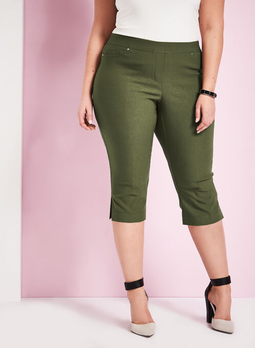 Modern Fit Bengaline Capri Pants, Green, hi-res