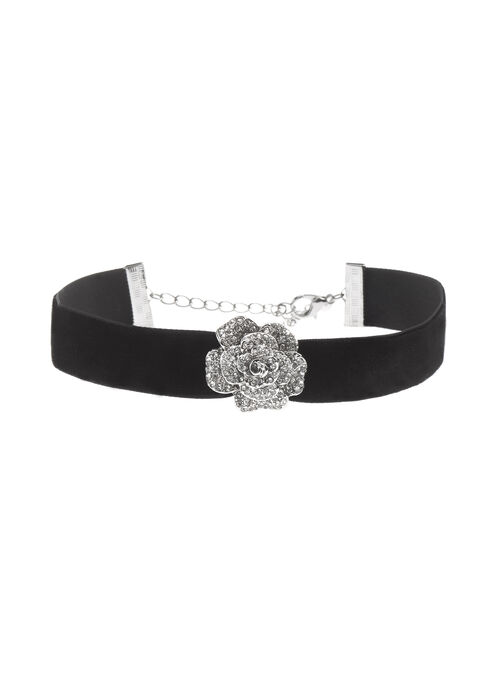 Velvet Choker with Crystal Embellished Rose , Black, hi-res