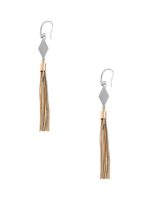 Diamond & Tassel Chain Earrings, Yellow, hi-res