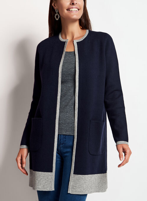 Cardigan ouvert en tricot bicolore, Bleu, hi-res