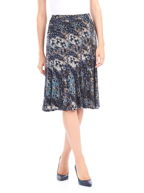Animal Print Gored Knit Skirt, Blue, hi-res
