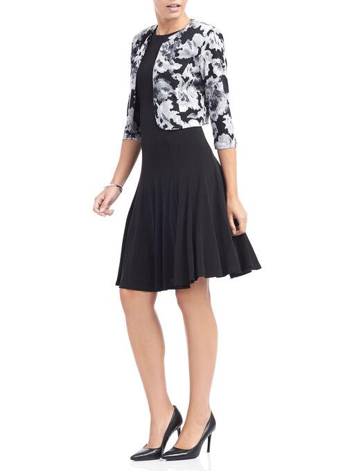 Jersey Fit & Flare Dress with Jacket, Black, hi-res