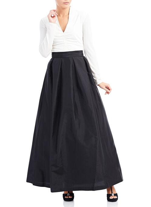 Pleated Taffeta Ball Gown Skirt, Black, hi-res
