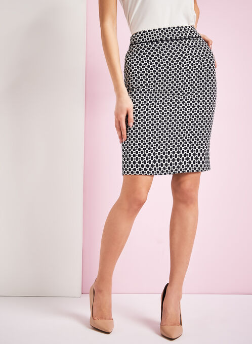 Contrast Trim Dot Print Pencil Skirt, Blue, hi-res