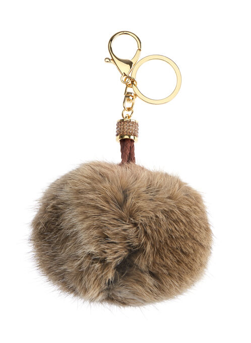 Braided Rabbit Fur Key Chain, Brown, hi-res