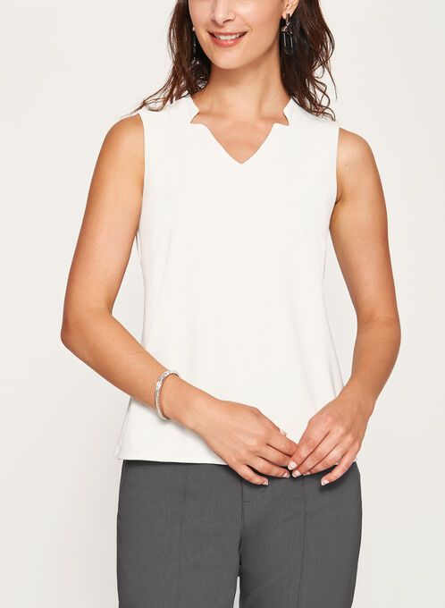 Sleeveless V-Neck Top, Off White, hi-res
