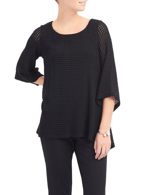 Back Slit Crochet Sweater, Black, hi-res