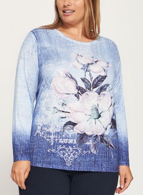 Crystal Embellished Floral Print Top, Blue, hi-res