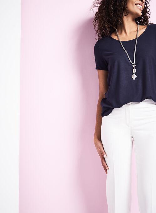 Scoop Neck Short Sleeve T-Shirt, Blue, hi-res
