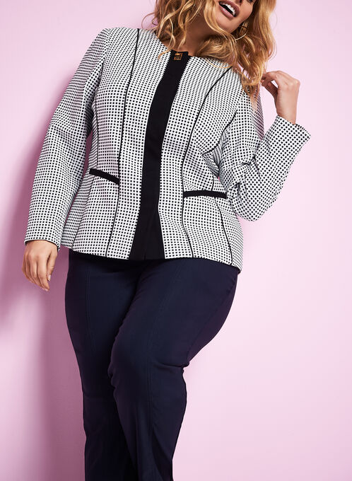 Knit Dot Print Jacket, White, hi-res