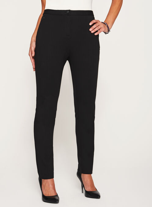 Signature Fit Slim Leg Ponte Pants, Black, hi-res