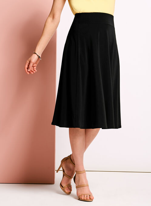 Jersey A-line Skirt, Black, hi-res