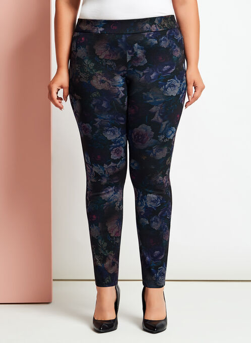 Floral Print Pull-On Slim Leg Pants, Black, hi-res