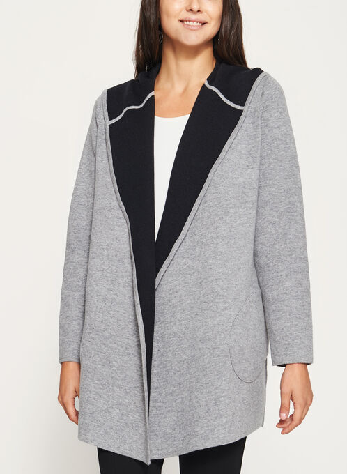 Open Front Double Knit Hooded Cardigan, Grey, hi-res