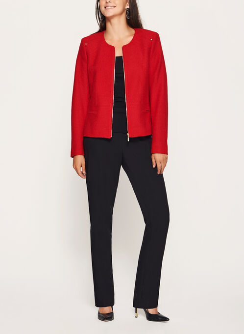 Wool Blend Cropped Jacket, Red, hi-res