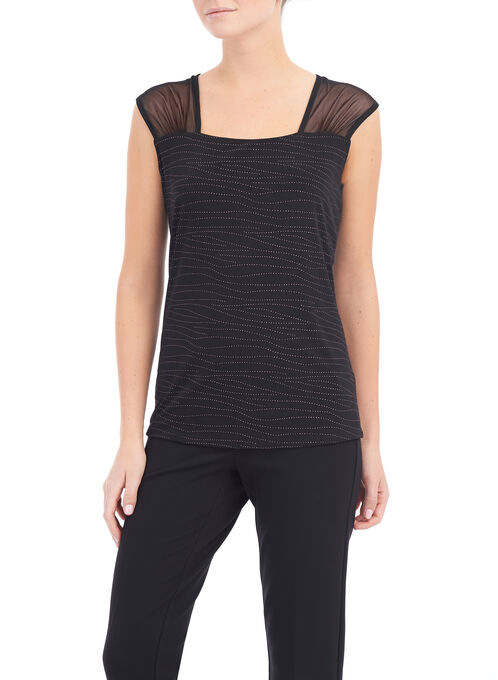 Swirl Pattern Square Neck Top, Red, hi-res