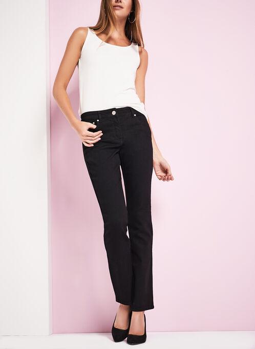 Tummy Control Straight Leg Jeans, Black, hi-res
