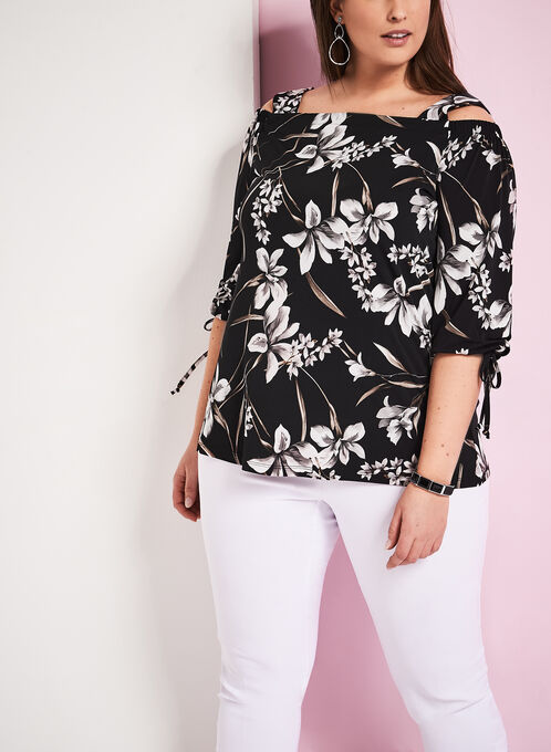 Floral Print Cold Shoulder Blouse, Black, hi-res