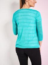 3/4 Sleeve Knit Cardigan, Blue, hi-res