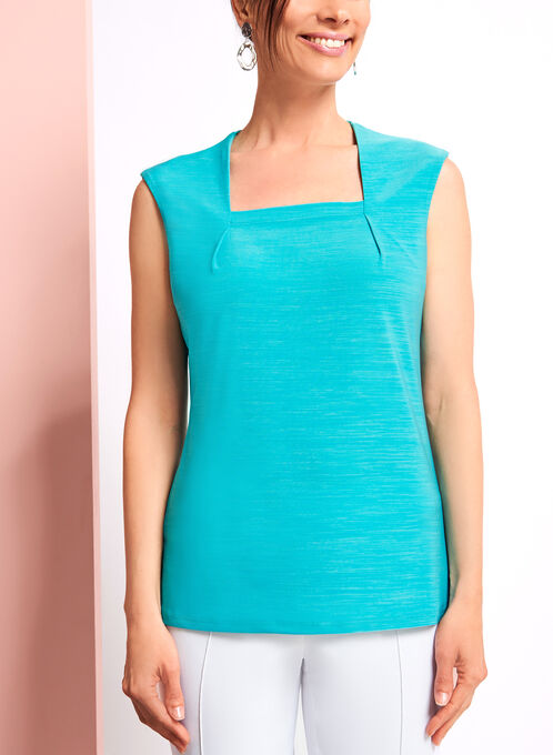 Square Neck Sleeveless Jersey Top, Blue, hi-res