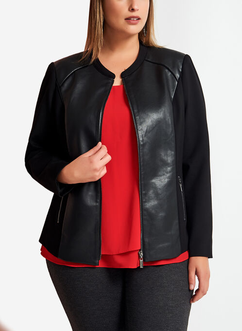 Ponte & Faux Leather Jacket, Black, hi-res