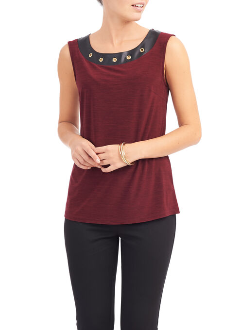 Sleeveless Eyelet Detail Top, Red, hi-res