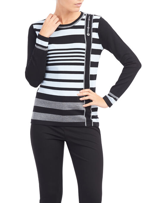 Stripe Print Button Trim Sweater, Black, hi-res