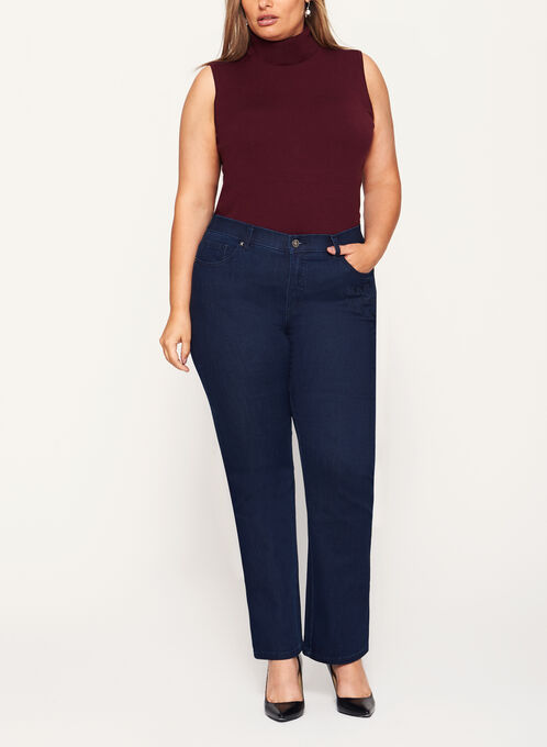 Simon Chang - Signature Fit Floral Embroidered Jeans, Blue, hi-res