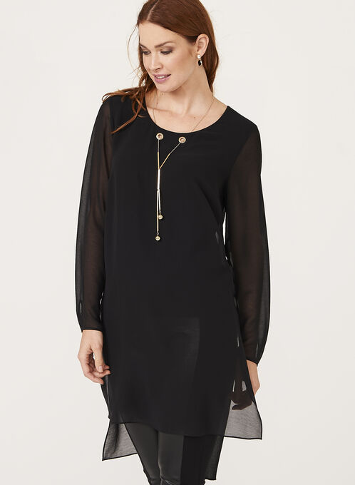 High-Low Necklace Embellished Tunic, Black, hi-res