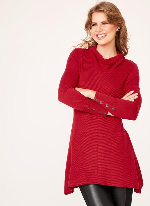 Pull long en tricot à col roulé lâche, Rouge, hi-res
